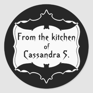 Cute personalized Halloween black and white baking Classic Round Sticker