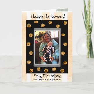 Cute Personalized Halloween Pumpkins and Ghouls Card