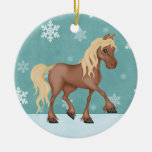 Cute Personalized Horse Holiday Christmas Double-Sided Ceramic Round Christmas Ornament