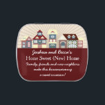 """Cute Personalized Housewarming Favors Candy Tin<br><div class=""""desc"""">This cute design features a row of whimsical homes. The color scheme for this design is red, rustic blue, pink and cream. Personalize this candy tin for your housewarming party. I have this design available in a variety of color schemes. If you don&#39;t find what you&#39;re looking for just message...</div>"""