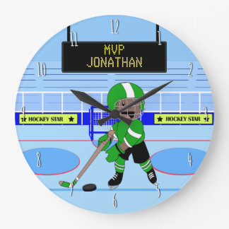 Cute Personalized Ice Hockey star Large Clock