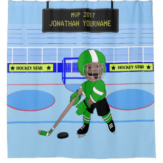 Cute Personalized Ice Hockey star Shower Curtain