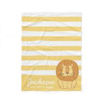 Cute Personalized Jungle Lion Cozy Yellow Stripe Fleece Blanket