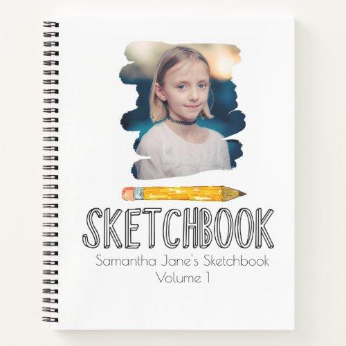 Cute personalized kid sketchbook notebook