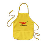 Cute personalized kids apron with red chili pepper