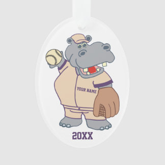 Cute Personalized Kids Baseball Hippo Ornament