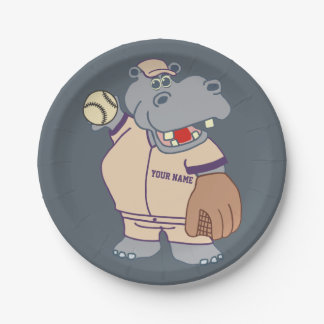 Cute Personalized Kids Baseball Hippo Paper Plate