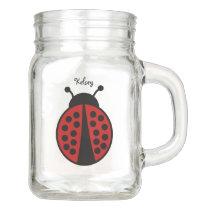 Cute personalized ladybug mason jar