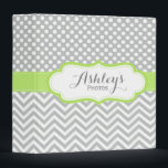 """Cute Personalized Lime Gray Photo Scrapbook Binder<br><div class=""""desc"""">A cute and girly personalized photo scrapbook binder with a lime green,  light gray and white polka dots and chevron pattern design. A pretty and trendy custom memory binder.</div>"""