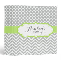 Cute Personalized Lime Gray Photo Scrapbook Binder