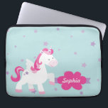 "Cute Personalized Magical Unicorn Laptop Sleeve<br><div class=""desc"">Personalized Laptop Sleeve featuring a Cute magical unicorn flying in the sky with purple stars. Cute and fun design for special for a girl who loves unicorns and magical ponies. Custom monogrammed gift.</div>"