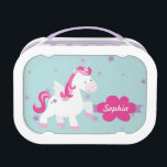"""Cute Personalized Magical Unicorn Lunchbox<br><div class=""""desc"""">Personalized Lunchbox featuring a Cute magical unicorn flying in the sky with purple stars. Cute and fun design for special for a girl who loves unicorns and magical ponies. Custom monogrammed gift.</div>"""
