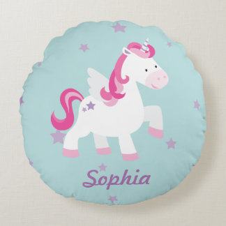 Cute Personalized Magical Unicorn Round Pillow