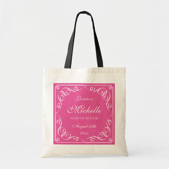 Cute Personalized Maid Of Honor Wedding Tote Bags