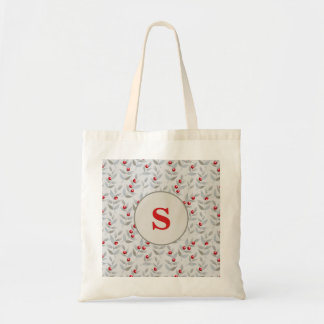 Cute Personalized Monogram Red Berries on Gray Tote Bag