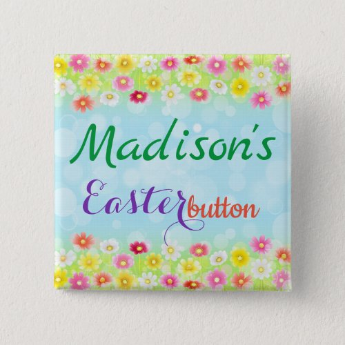 Cute Personalized Name Easter Button Custom Pin