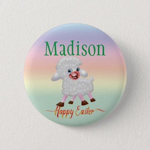 Cute Personalized Name Easter Lamb Custom Size Button