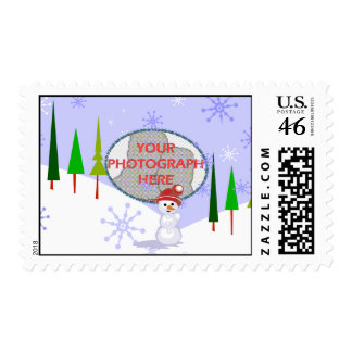 Cute Personalized name photograph Snowman Christma Stamp