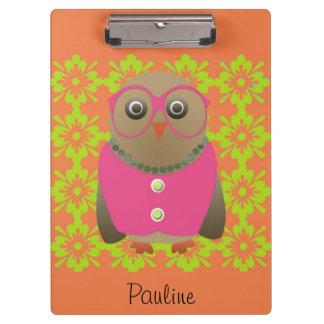 Cute Personalized Orange Old Lady Owl Clipboard