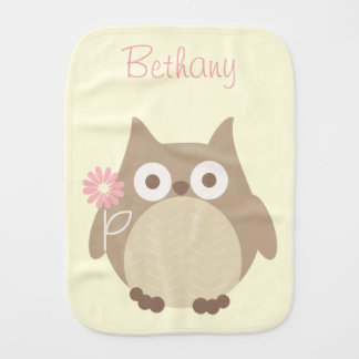 Cute Personalized Owl Baby Girl Baby Burp Cloth