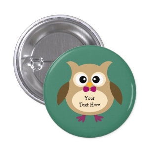 Cute Personalized Owl 1 Inch Round Button