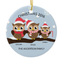 CUTE Personalized Owl Family Of 3 Christmas Ceramic Ornament