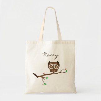 Cute Personalized Owl Tote Bag