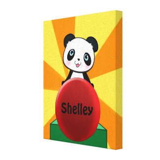 Cute Personalized Panda Canvas Wall Hanging Decor Canvas Print