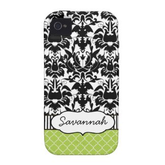 Cute Personalized Peapod Lime Stripe and Damask Case-mate Iphone 4 Case
