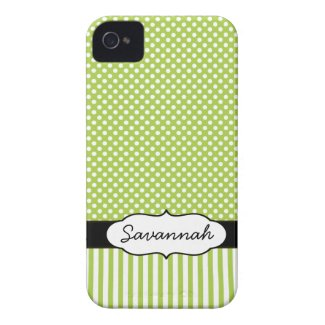 Cute Personalized Peapod Lime Stripe and Polka Dot Iphone 4 Cases