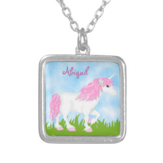 Cute Personalized Pink and White Unicorn Square Pendant Necklace