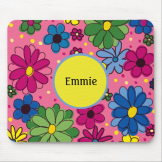 Cute Personalized  Pink Blue Green Yellow Floral Mouse Pad