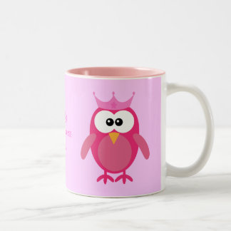 Cute Personalized Pink Cartoon Owl Princess Two-Tone Coffee Mug