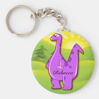 Cute Personalized Pink Dinosaur  cartoon Keychain