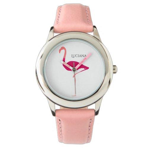Cute Personalized Pink Flamingo Girls Watch