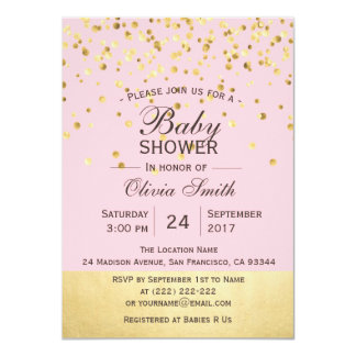 Cute Personalized Pink Gold Baby Shower Invites