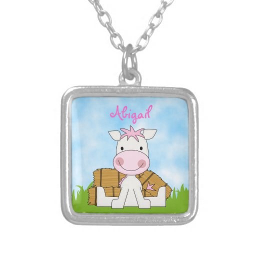 Cute Personalized Pink Pony Necklace for Girls