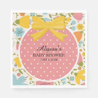 Cute Personalized Pink Yellow Blue Baby Shower Paper Napkin