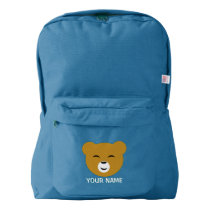 Cute Personalized Pleased Bear Face American Apparel™ Backpack