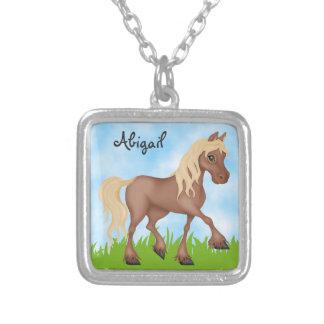 Cute Personalized Pretty Brown Horse Square Pendant Necklace