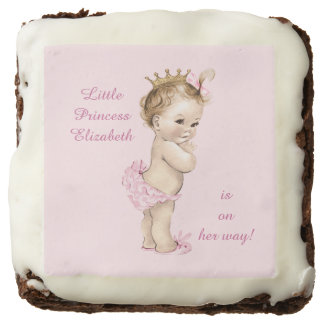 Cute Personalized Princess Baby Shower Brownie