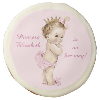 Cute Personalized Princess Baby Shower Sugar Cookie