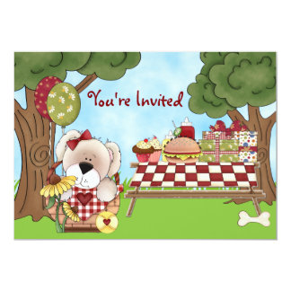 Cute Personalized Puppy Dog Picnic Girls Birthday Card