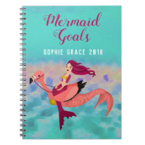 Cute Personalized Purple Mermaid & Pink Mermingo Notebook