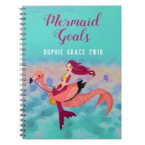 Cute Personalized Purple Mermaid & Pink Mermingo Notebook