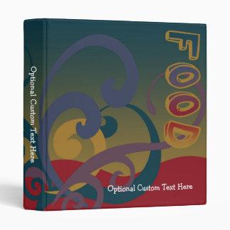 Cute Personalized Recipe Book, Retro Swirl Vinyl Binders