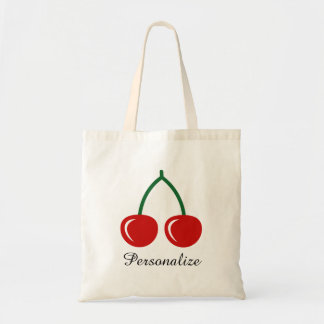 Cute personalized red cherry tote bags