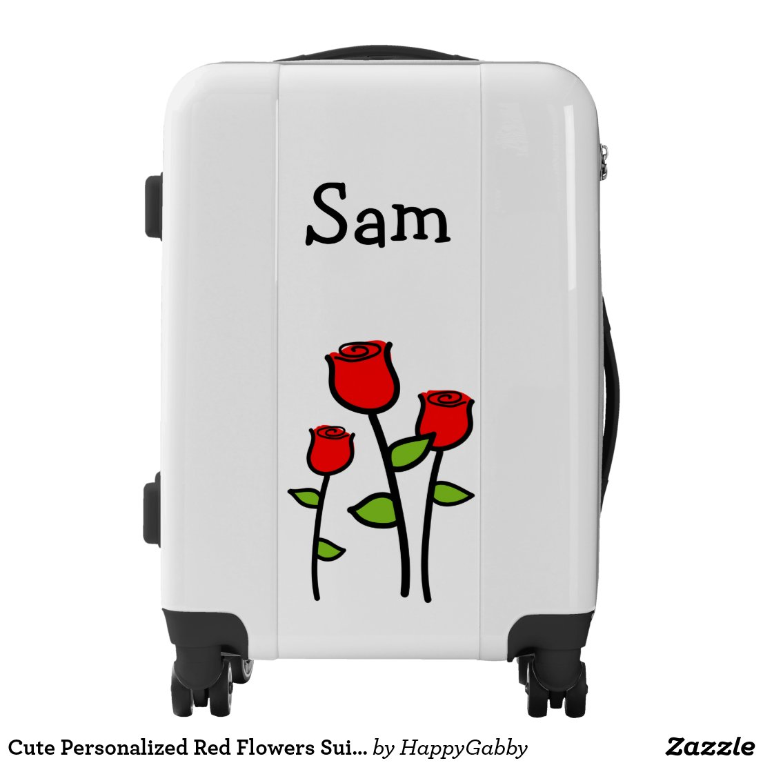 Personalized Red Flowers Suitcase