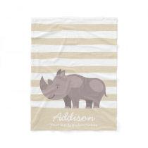 Cute Personalized Rhinoceros Jungle Tan Stripe Fleece Blanket