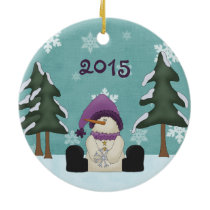 Cute Personalized Snowman in Woods Christmas Ceramic Ornament